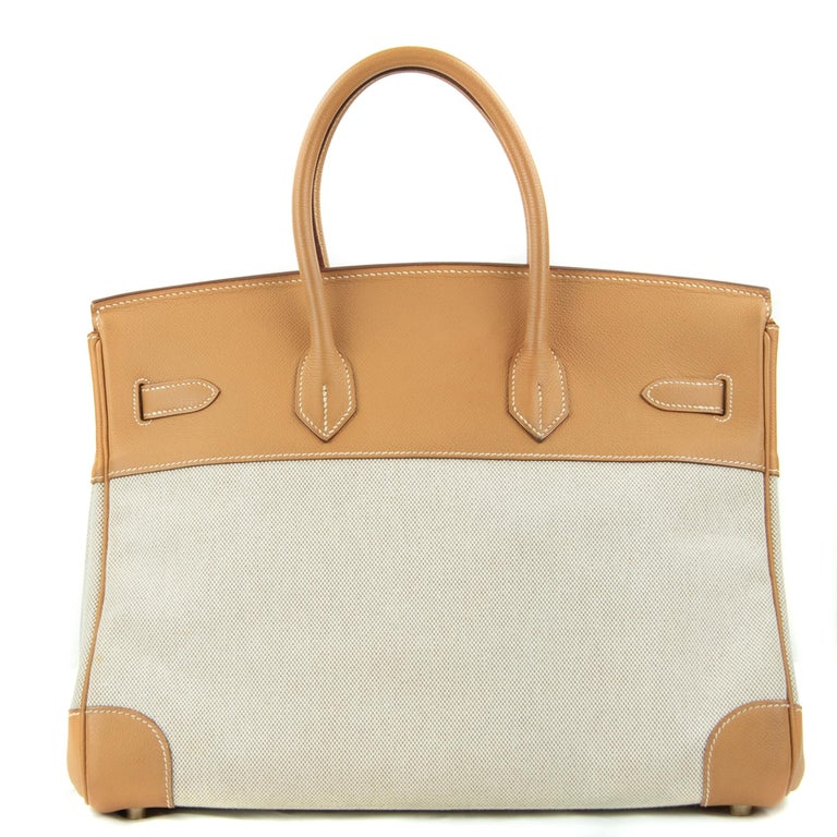 Hermes Birkin Bag 35cm Gold Toile Epsom GHW (Pre Owned) For Sale 5