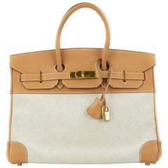 Hermes Birkin Bag 35cm Gold Toile Epsom GHW (Pre Owned)