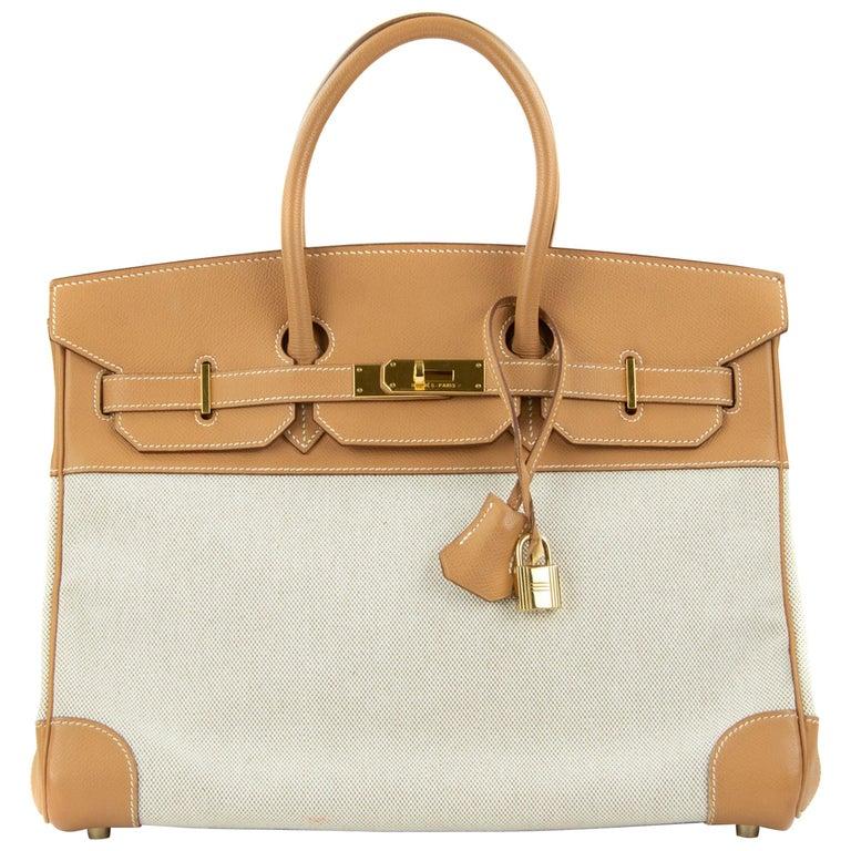 Hermes Birkin Bag 35cm Gold Toile Epsom GHW (Pre Owned) For Sale