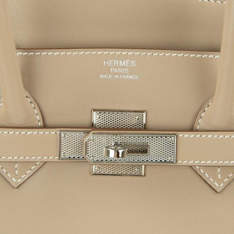 Hermès Birkin Bag 35cm Guilloche Tadelakt Argile PHW For Sale 5