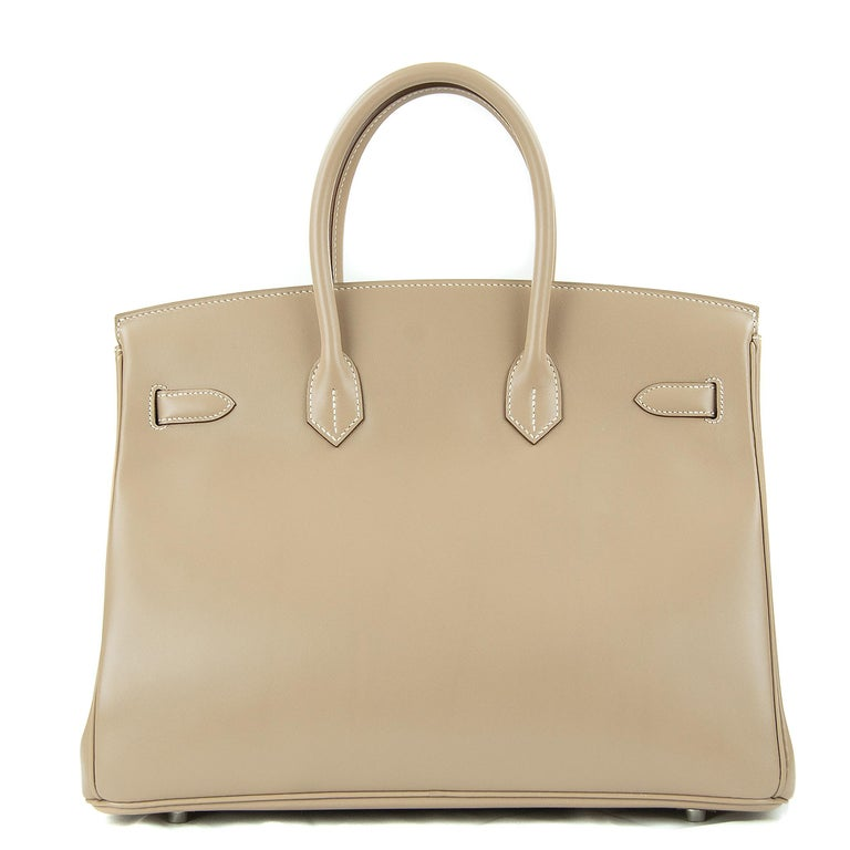 Hermes 35cm Birkin bag in Guilloche Takelakt Argile. This iconic special order Hermes Birkin bag is timeless and chic. Fresh and crisp with palladium hardware.      Condition: New or Never Used     Made in France     Bag Measures: 35cm (13.8