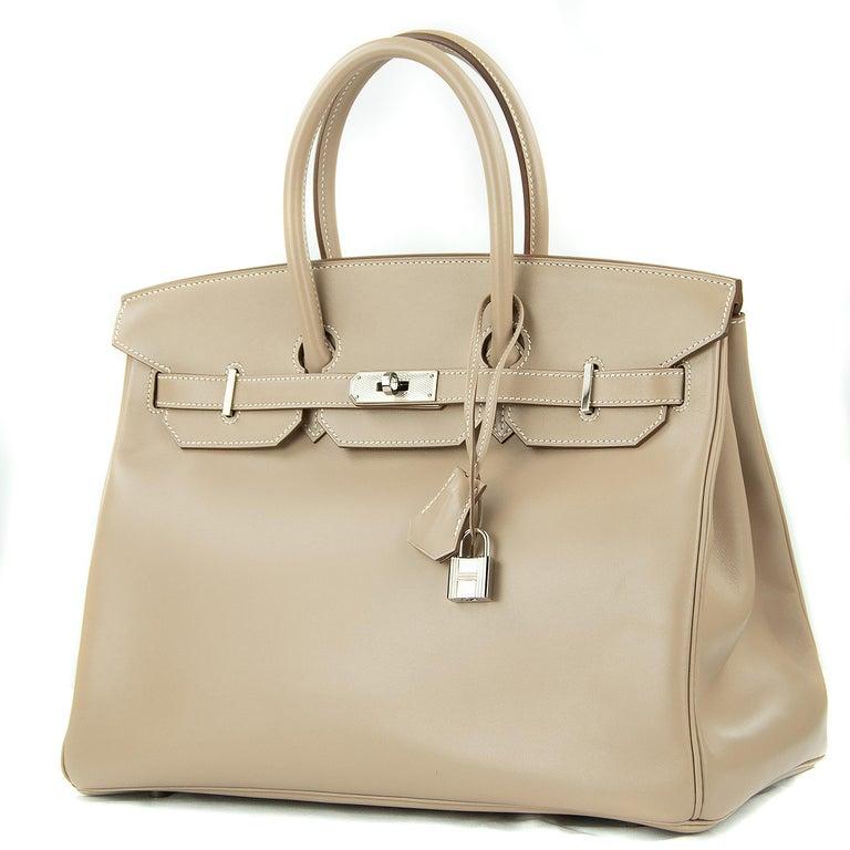 Beige Hermès Birkin Bag 35cm Guilloche Tadelakt Argile PHW For Sale
