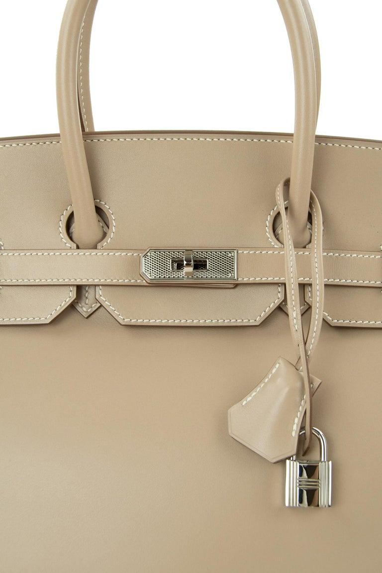 Women's or Men's Hermès Birkin Bag 35cm Guilloche Tadelakt Argile PHW For Sale