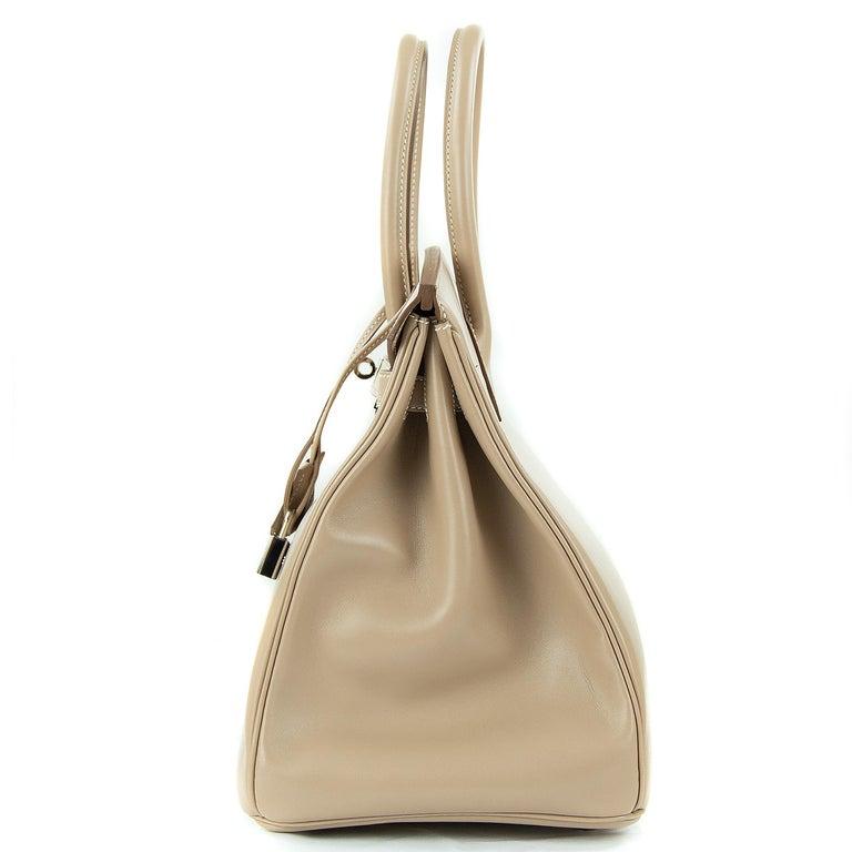 Hermès Birkin Bag 35cm Guilloche Tadelakt Argile PHW For Sale 4
