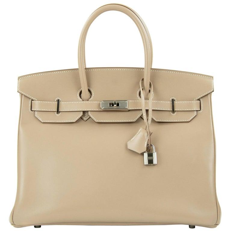Hermès Birkin Bag 35cm Guilloche Tadelakt Argile PHW For Sale