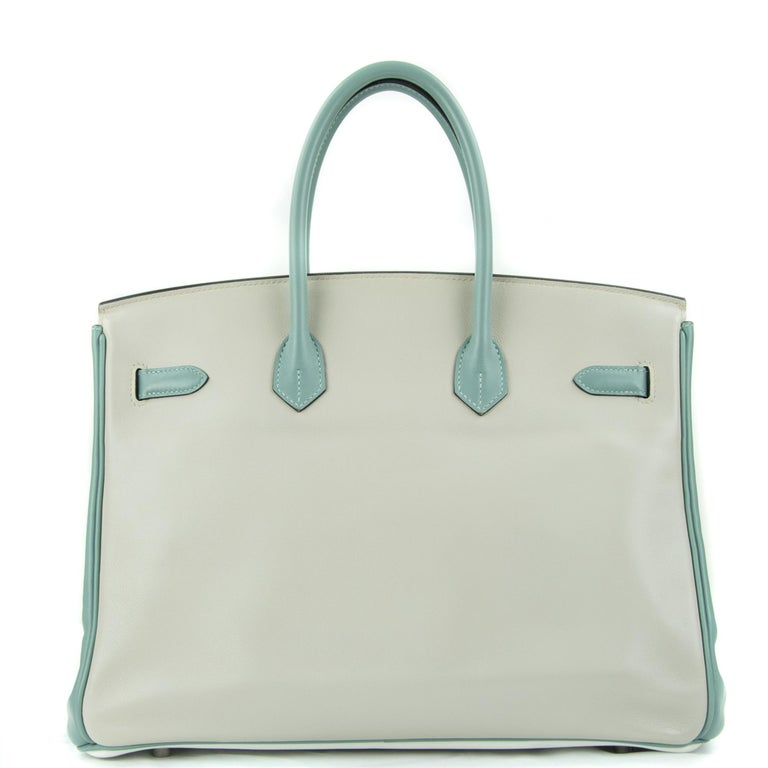 Hermes 35cm Birkin HSS Tri Color bag. This iconic special order Hermes Birkin bag is timeless and chic, in white, blue and craie. Fresh and crisp with brushed palladium hardware.      Condition: Excellent, Previously Used     Made in France     Bag