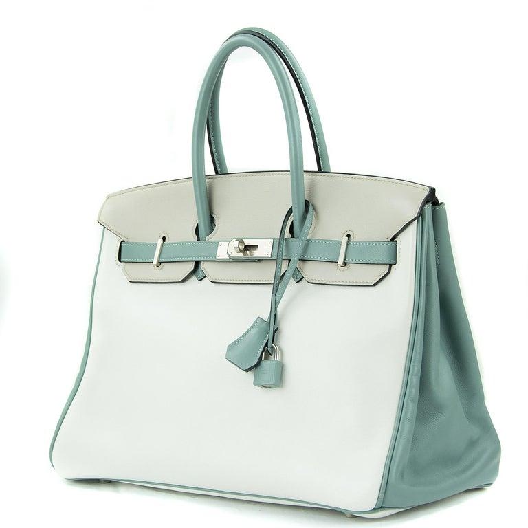 Gray Hermes Birkin Bag 35cm HSS Tri Color Brushed PHW (Pre Owned) For Sale