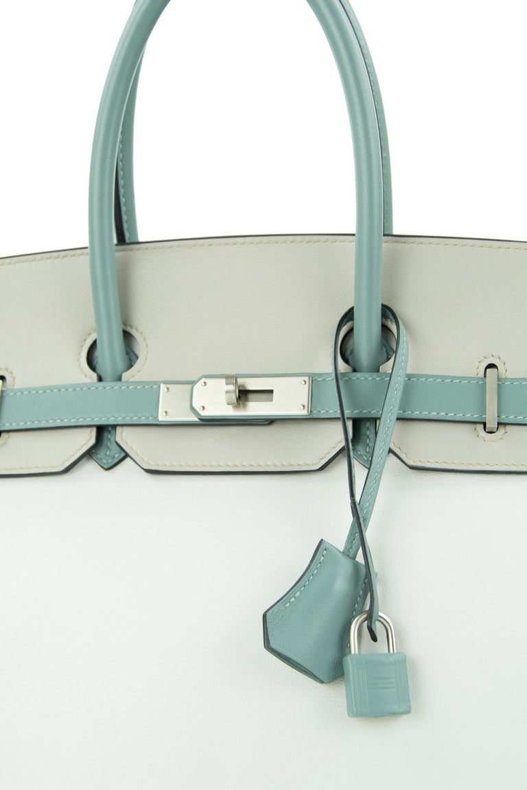Hermes Birkin Bag 35cm HSS Tri Color Brushed PHW (Pre Owned) In Excellent Condition For Sale In Newport, RI