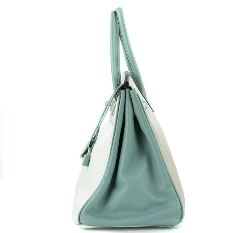 Hermes Birkin Bag 35cm HSS Tri Color Brushed PHW (Pre Owned) For Sale 3