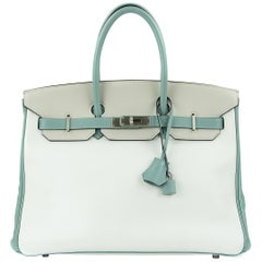 Hermes Birkin Bag 35cm HSS Tri Color Brushed PHW (Pre Owned)