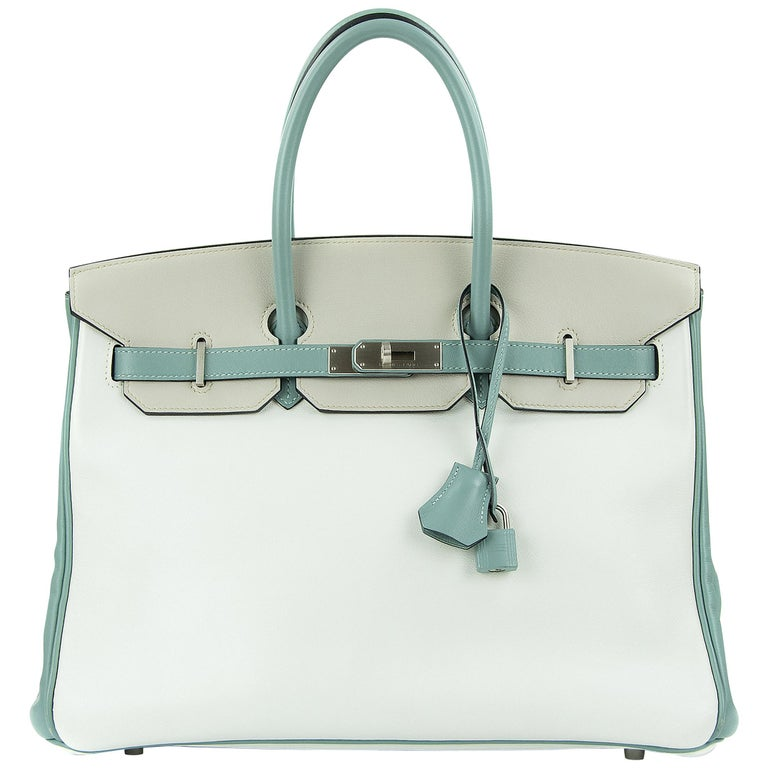 Hermes Birkin Bag 35cm HSS Tri Color Brushed PHW (Pre Owned) For Sale