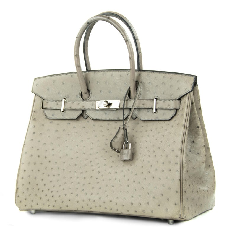Hermes 35cm Birkin in Mousse Ostrich. This iconic special order Hermes Birkin bag is timeless and chic. Fresh and crisp with palladium hardware.       Condition: Excellent, Previously Owned     Made in France     Bag Measures: 35cm (13.8