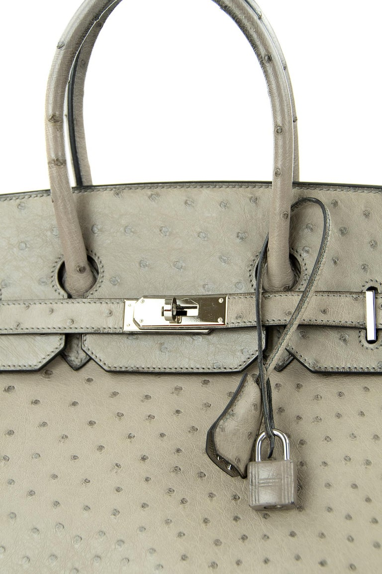 Hermes Birkin Bag 35cm Mousse Ostrich PHW (Pre Owned) In Excellent Condition For Sale In Newport, RI