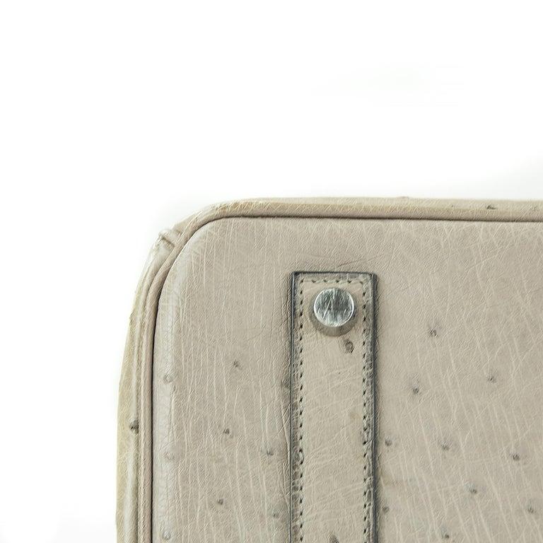 Women's or Men's Hermes Birkin Bag 35cm Mousse Ostrich PHW (Pre Owned) For Sale