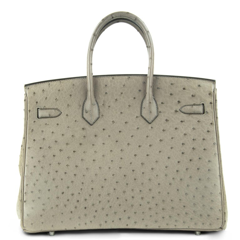 Hermes Birkin Bag 35cm Mousse Ostrich PHW (Pre Owned) For Sale 3