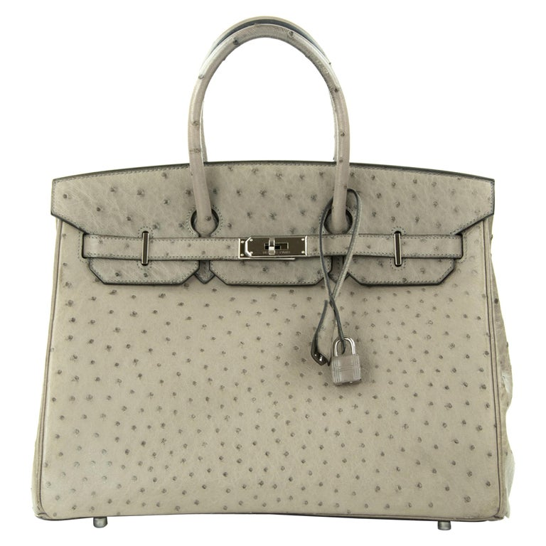 Hermes Birkin Bag 35cm Mousse Ostrich PHW (Pre Owned) For Sale
