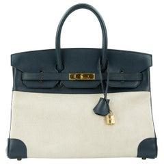 Hermes Birkin Bag 35cm Navy Toile GHW (Pre Owned)