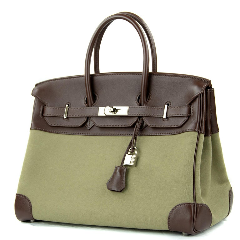 Brown Hermes Birkin Bag 35cm Olive Toile Officier Canvas Chocolate PHW For Sale