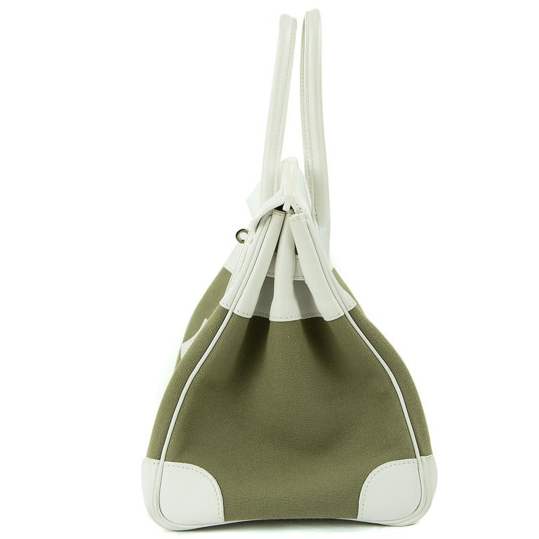 Hermes Birkin Bag 35cm Olive Toile Officier Canvas White Leather PHW (Pre Owned) For Sale 6