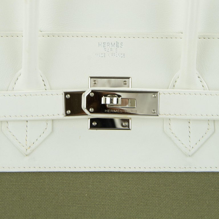 Hermes Birkin Bag 35cm Olive Toile Officier Canvas White Leather PHW (Pre Owned) For Sale 7