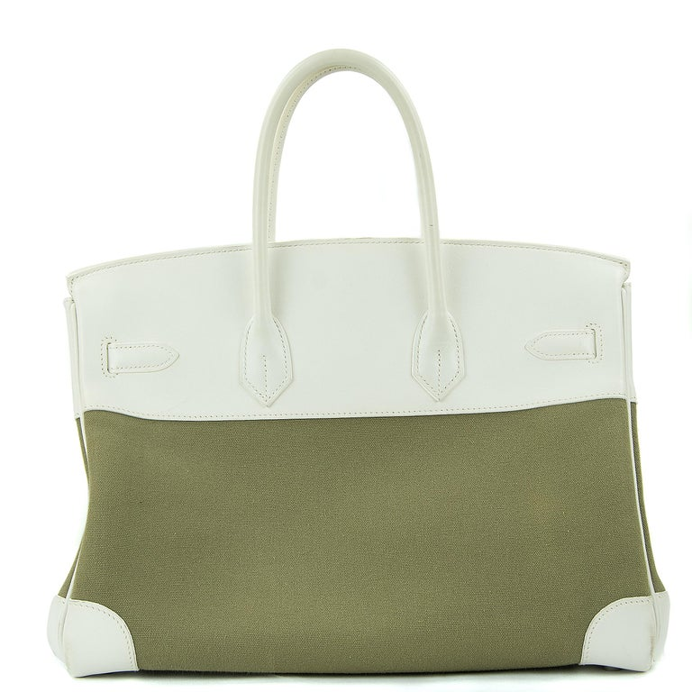 Hermes 35cm Birkin bag in Olive Matiere Toile Officier Canvas Couchevel White Leather. This iconic special order Hermes Birkin bag is timeless and chic. Fresh and crisp with palladium hardware.      Condition: Excellent, Previously Used     Made in