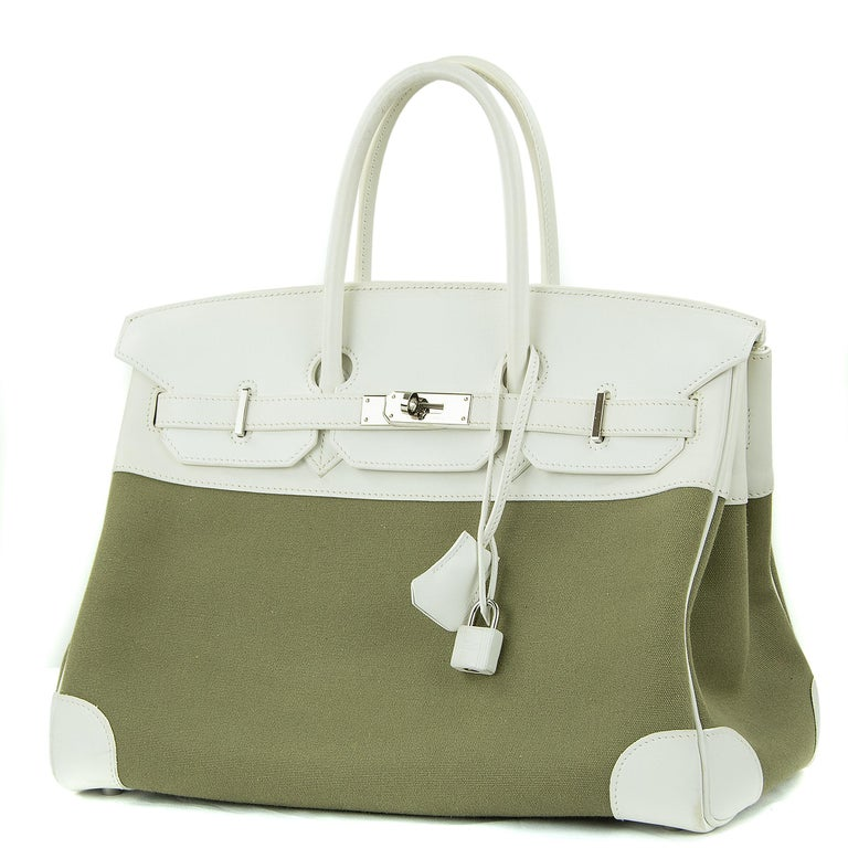 Brown Hermes Birkin Bag 35cm Olive Toile Officier Canvas White Leather PHW (Pre Owned) For Sale