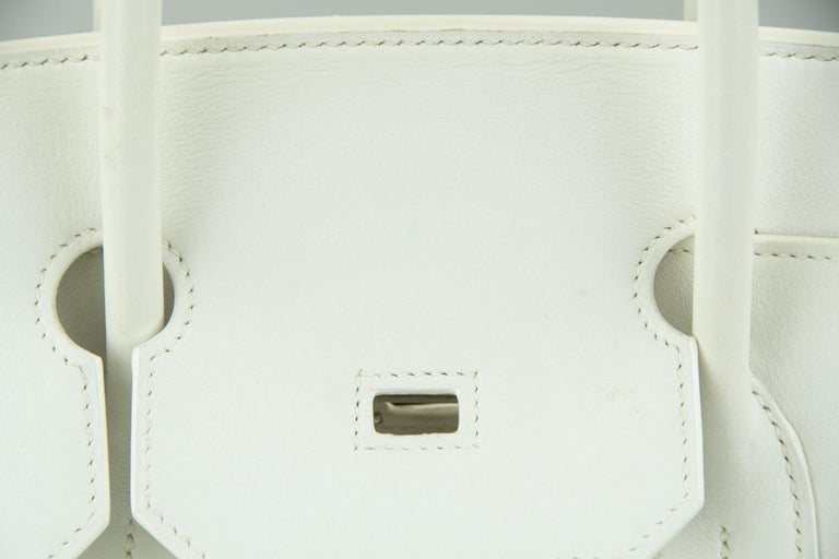 Women's or Men's Hermes Birkin Bag 35cm Olive Toile Officier Canvas White Leather PHW (Pre Owned) For Sale