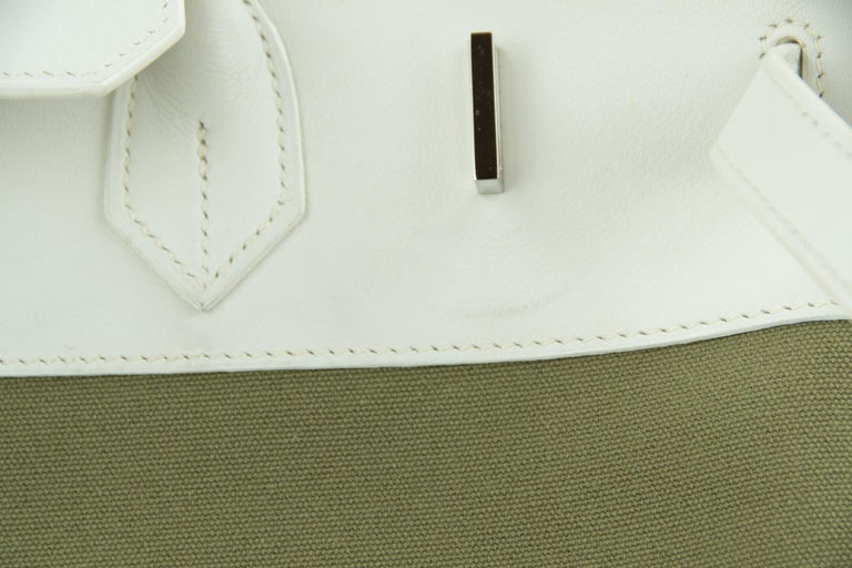 Hermes Birkin Bag 35cm Olive Toile Officier Canvas White Leather PHW (Pre Owned) For Sale 1