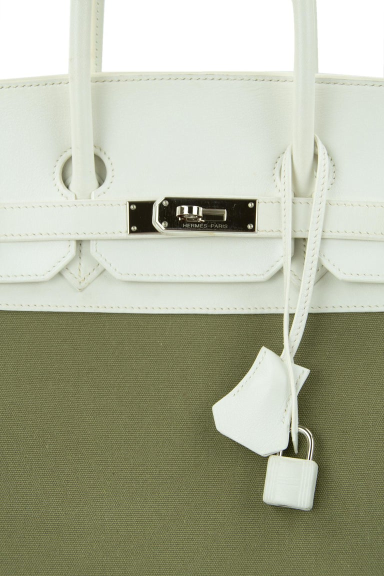 Hermes Birkin Bag 35cm Olive Toile Officier Canvas White Leather PHW (Pre Owned) For Sale 2