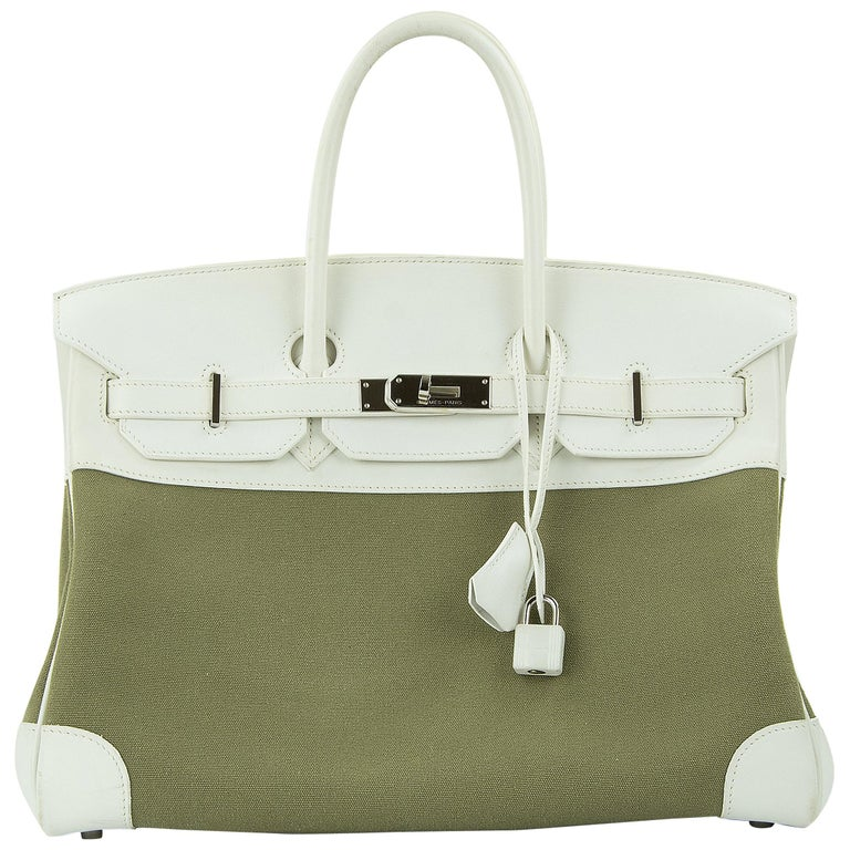 Hermes Birkin Bag 35cm Olive Toile Officier Canvas White Leather PHW (Pre Owned) For Sale