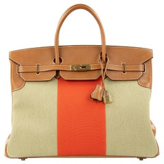 Hermes Birkin Bag 35cm Orange Flag Toile Barenia GHW