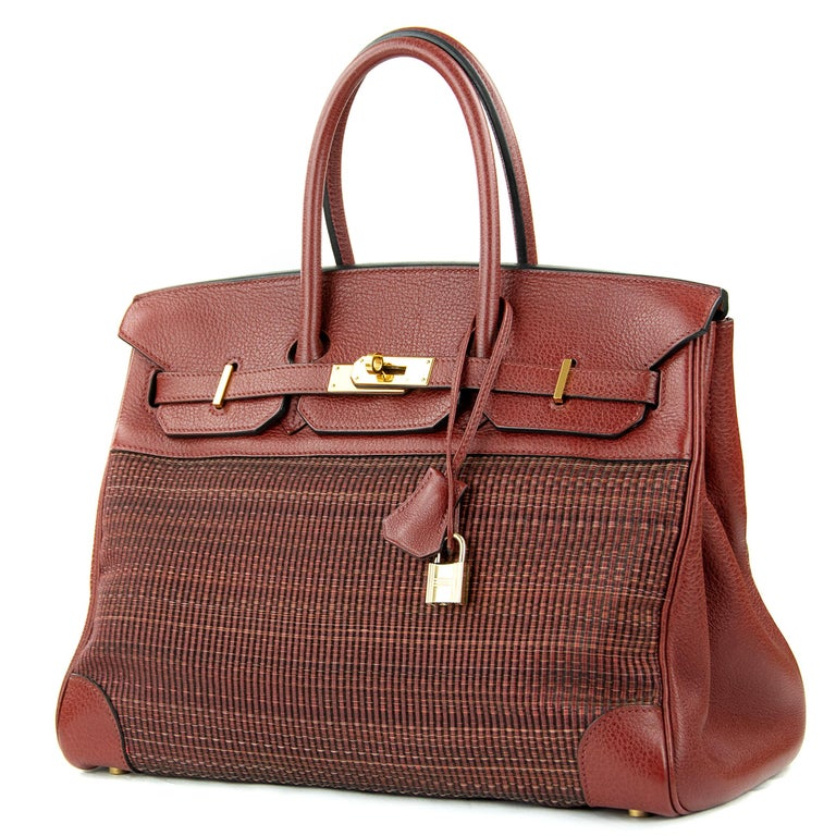 Extremely rare Hermes 35cm Birkin bag in Rouge H Buffalo Crinoline. This iconic special order Hermes Birkin bag is timeless and chic. Fresh and crisp with gold hardware.      Condition: Excellent, Previously Used     Made in France     Bag Measures: