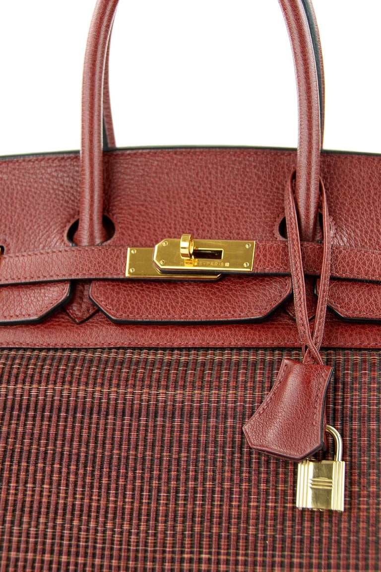 Hermes Birkin Bag 35cm Rouge H Buffalo Crinoline Birkin GHW (Pre Owned) In Excellent Condition For Sale In Newport, RI