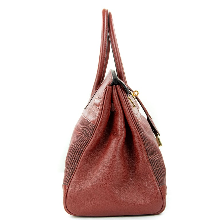 Hermes Birkin Bag 35cm Rouge H Buffalo Crinoline Birkin GHW (Pre Owned) For Sale 3