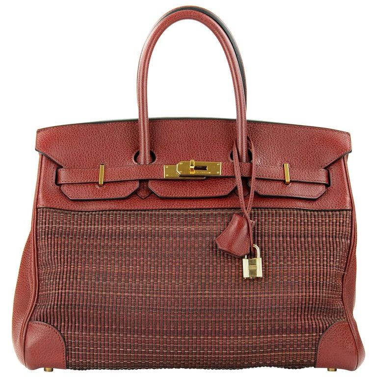 Hermes Birkin Bag 35cm Rouge H Buffalo Crinoline Birkin GHW (Pre Owned) For Sale
