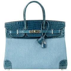 Hermes Birkin Bag 35cm Shiny Blue Roi Porosus Crocodile & Denim PHW