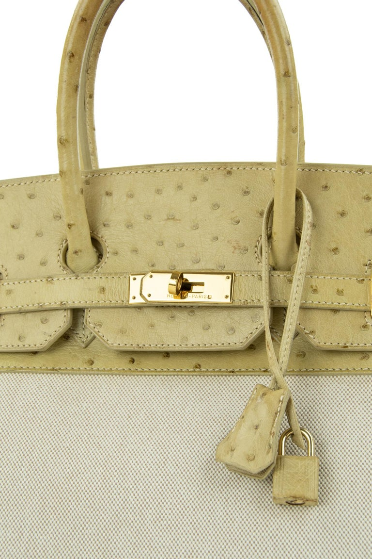 Hermes Birkin Bag 35cm Toile and Blanc Casse Ostrich GHW (Pre-Owned) In Excellent Condition For Sale In Newport, RI