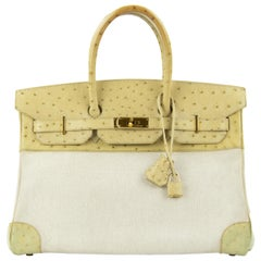 Hermes Birkin Bag 35cm Toile and Blanc Casse Ostrich GHW (Pre-Owned)