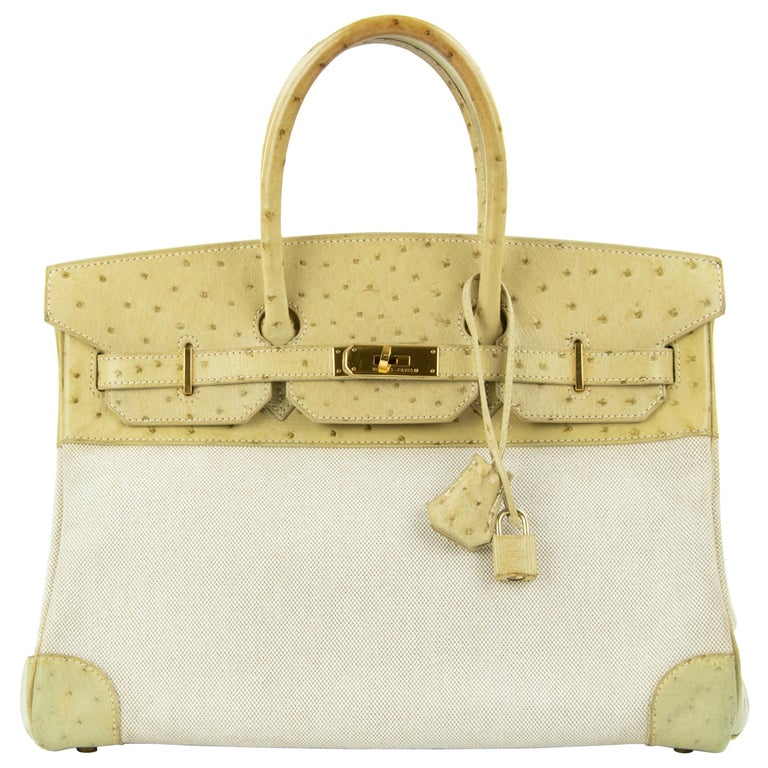 Hermes Birkin Bag 35cm Toile and Blanc Casse Ostrich GHW (Pre-Owned) For Sale