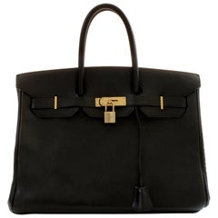 Hermes Birkin Bag 35cm Vintage Black Ardennes Leather 90s
