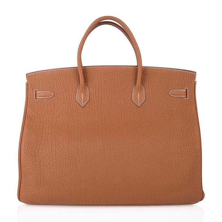 Hermes Birkin Bag 40 Iconic Gold Clemence Gold Hardware For Sale 6