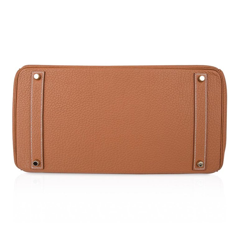 Hermes Birkin Bag 40 Iconic Gold Clemence Gold Hardware For Sale 7
