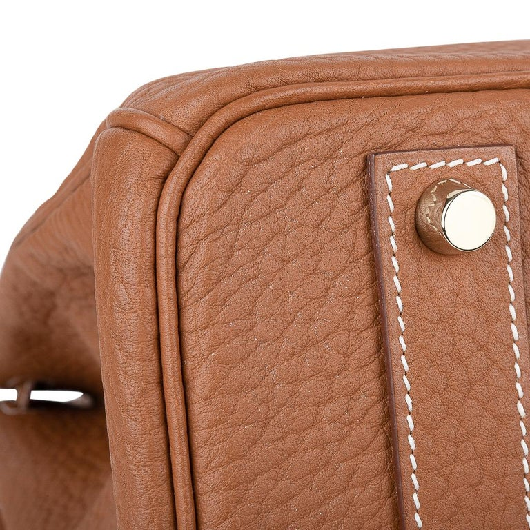 Hermes Birkin Bag 40 Iconic Gold Clemence Gold Hardware For Sale 8