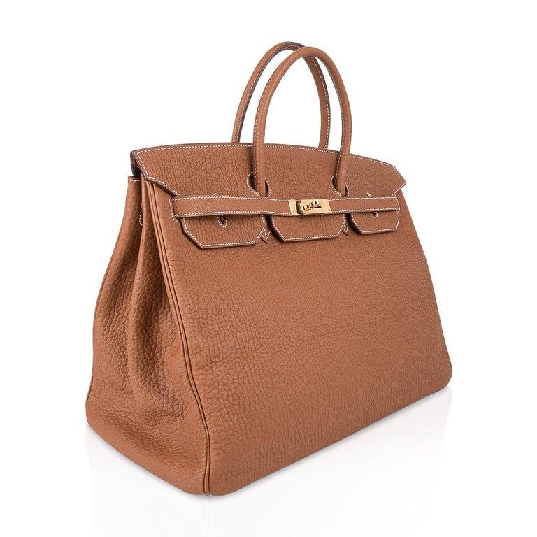 Hermes Birkin Bag 40 Iconic Gold Clemence Gold Hardware For Sale 1