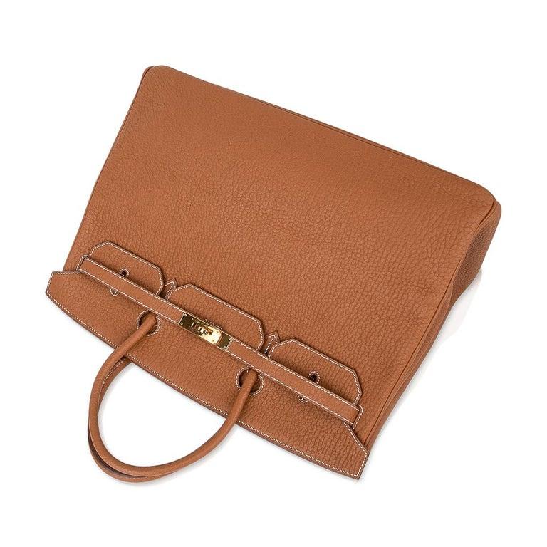 Hermes Birkin Bag 40 Iconic Gold Clemence Gold Hardware For Sale 2