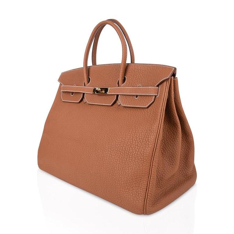 Hermes Birkin Bag 40 Iconic Gold Clemence Gold Hardware For Sale 3