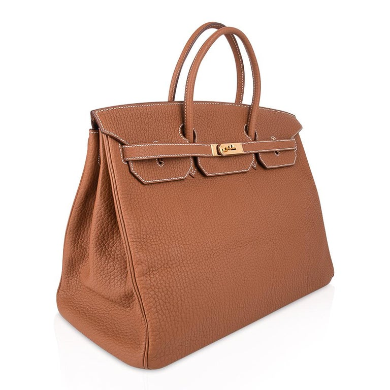 Hermes Birkin Bag 40 Iconic Gold Clemence Gold Hardware For Sale 4