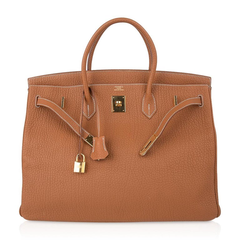 Hermes Birkin Bag 40 Iconic Gold Clemence Gold Hardware For Sale 5