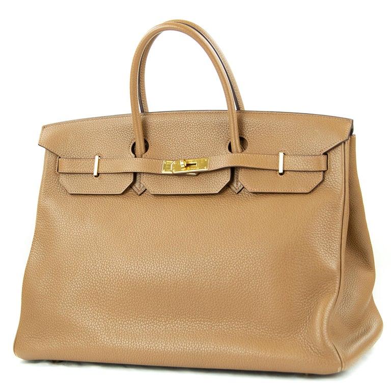 Brown Hermes Birkin Bag 40cm Alezan GHW For Sale
