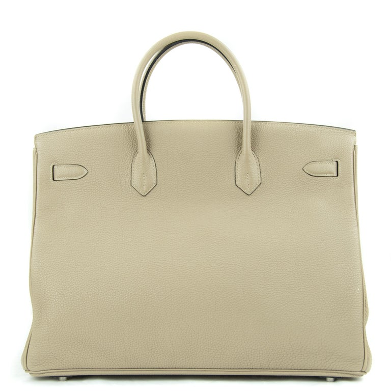 Hermes 40cm Birkin bag in Gris Tourterelle Togo. This iconic special order Hermes Birkin bag is timeless and chic. Fresh and crisp with palladium hardware.      Condition: New or Never Used     Made in France     Bag Measures: 40cm (15.7